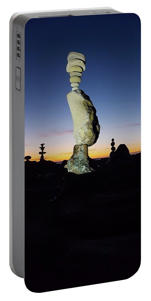 Rock Stacks Portable Battery Charger featuring the photograph Sunset Stacks by Joseph Krzywonski