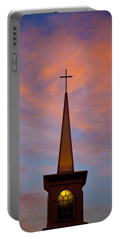 Church Portable Battery Charger featuring the photograph Sunset Steeple by Toni Hopper