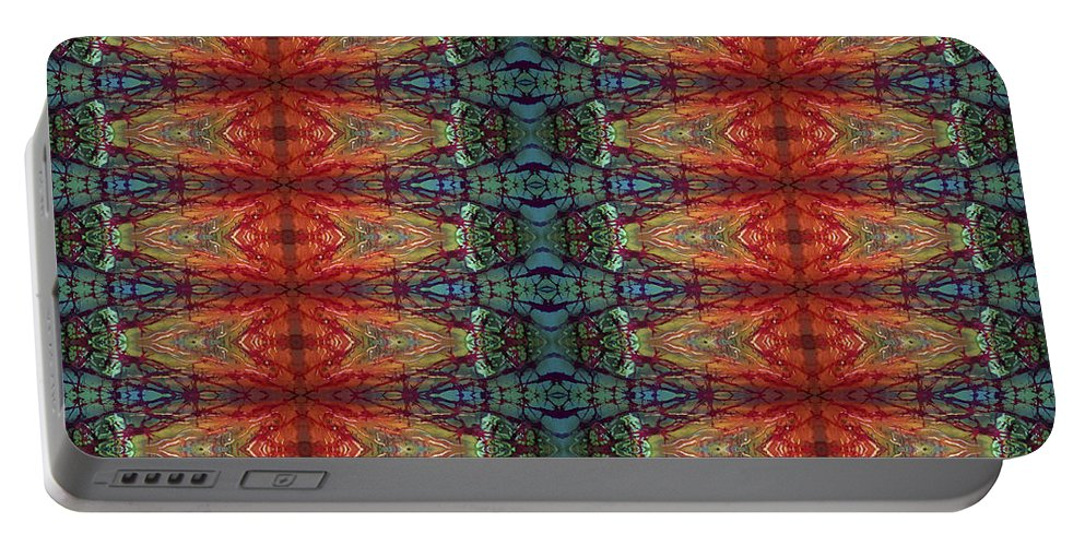 Batik Portable Battery Charger featuring the painting Sunset Strip Tiled by Sue Duda