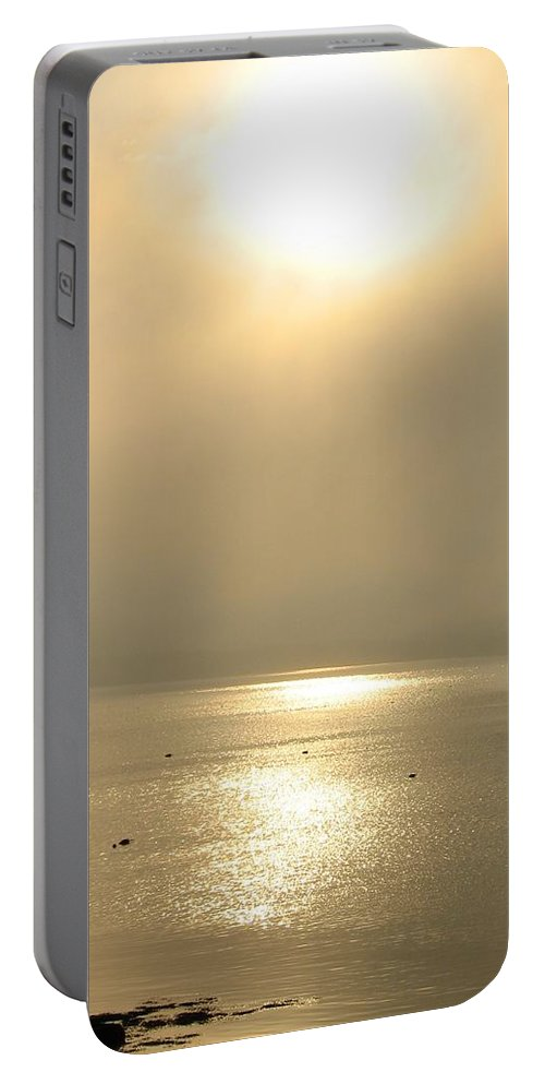 Sun Portable Battery Charger featuring the photograph Sunset Through Fog by Kelly Mezzapelle
