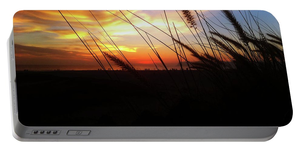 Sunset Portable Battery Charger featuring the photograph Sunset Through The Sea Grass by Sakki