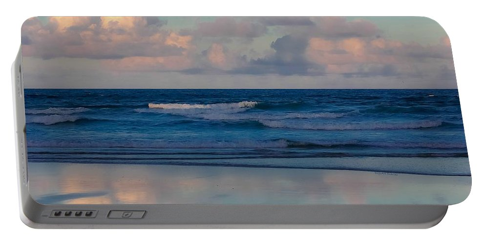 Ocean Portable Battery Charger featuring the digital art Sunset Tides by DigiArt Diaries by Vicky B Fuller