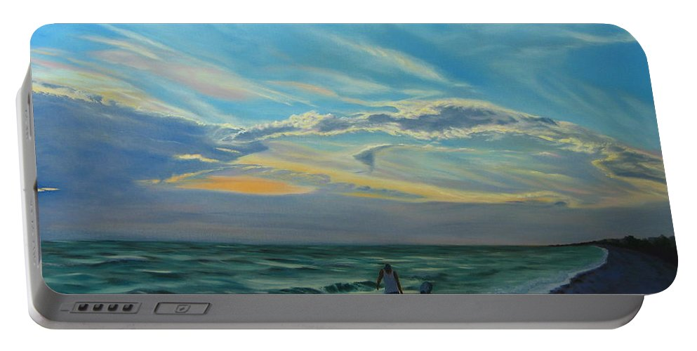 Seascape Portable Battery Charger featuring the painting Sunset Treasure Hunt by Lea Novak
