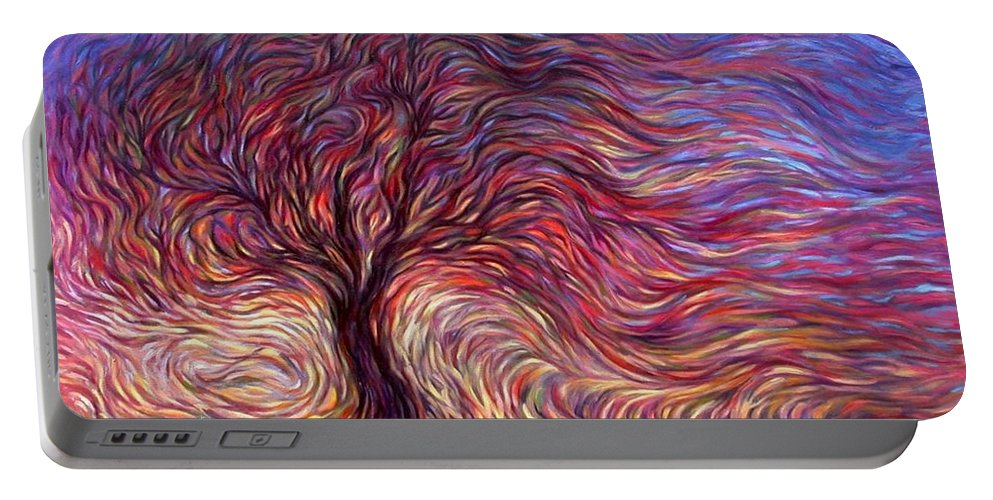 Tree Portable Battery Charger featuring the painting Sunset Tree by Hans Droog
