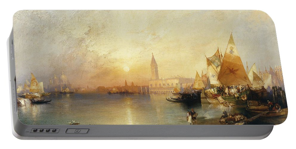 American Artist;american Painting Portable Battery Charger featuring the painting Sunset Venice by Thomas Moran