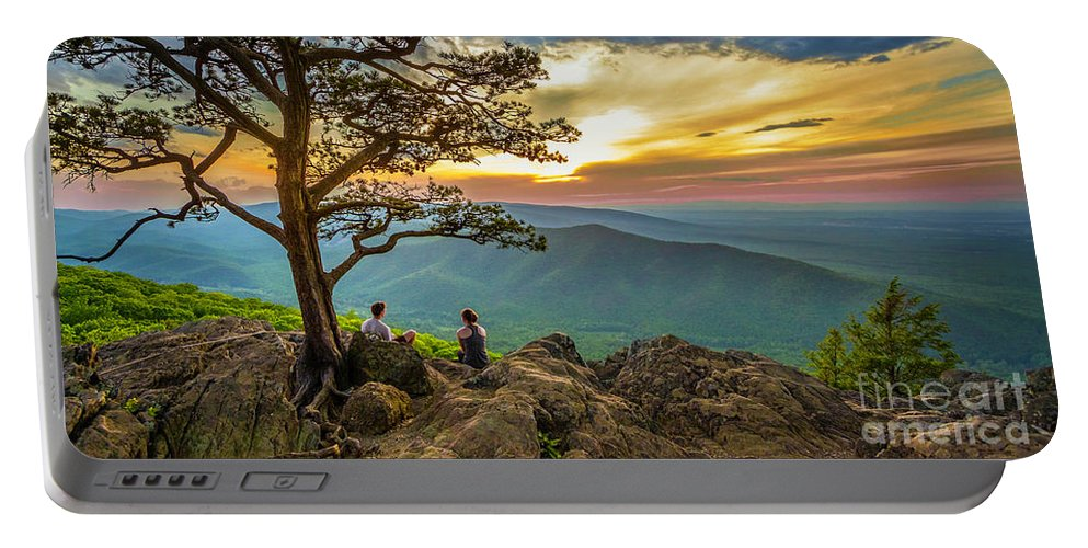 Sunset Portable Battery Charger featuring the photograph Sunset View At Ravens Roost Panorama by Karen Jorstad
