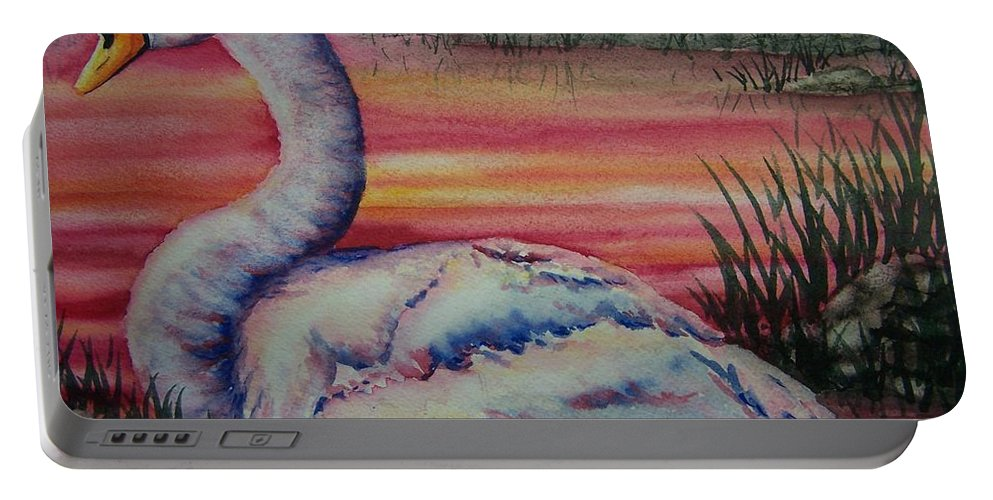 Geese Portable Battery Charger featuring the painting Sunset Watcher by Conni Reinecke