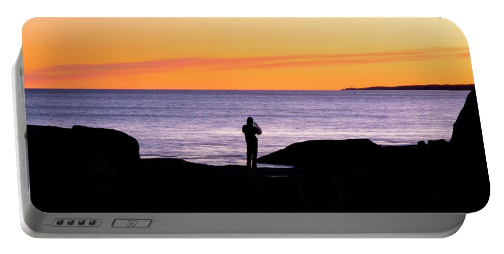 Sunset Portable Battery Charger featuring the photograph Sunset Watcher by Greg Fortier