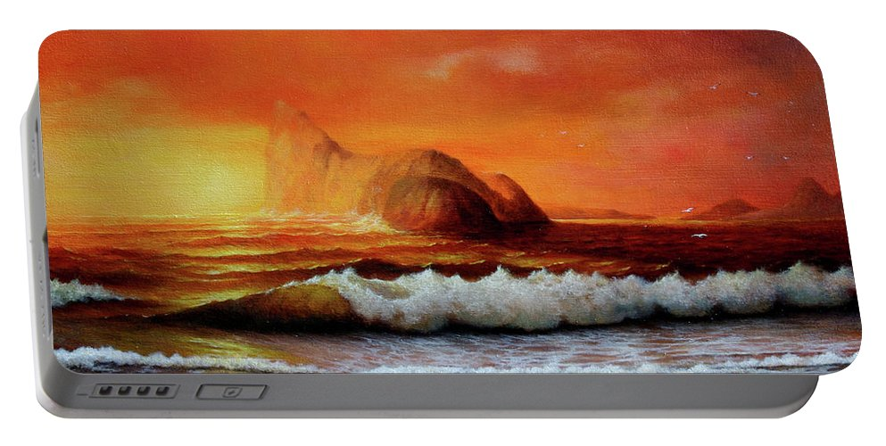 Seascape Portable Battery Charger featuring the painting Sunset, by Zohrab Kemkemian