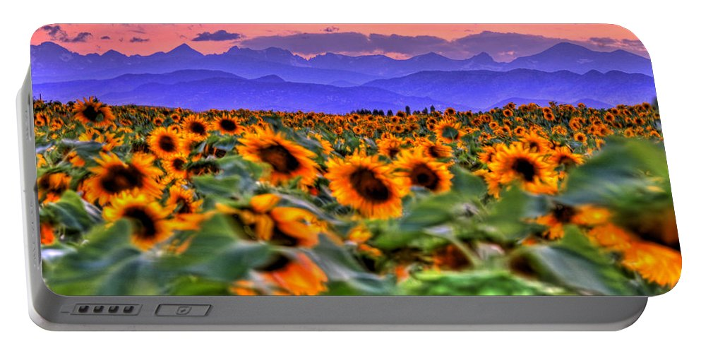 Sunsets Portable Battery Charger featuring the photograph Sunsets And Sunflowers by Scott Mahon
