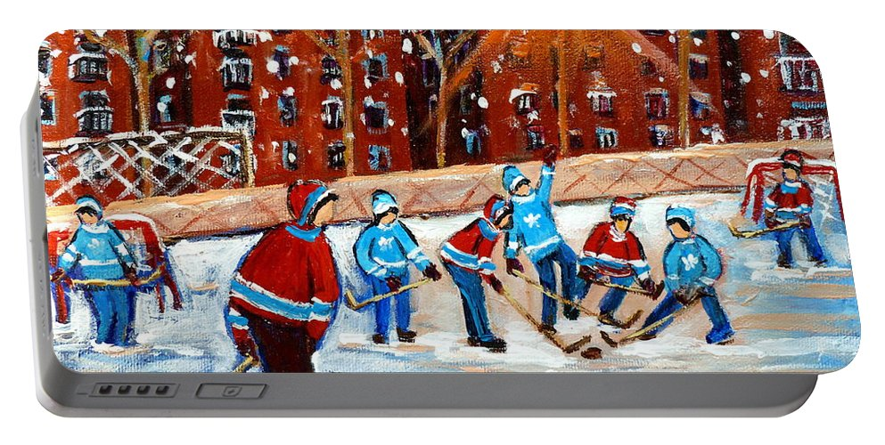 Kids Playing Hockey Portable Battery Charger featuring the painting Sunsetting On My Street by Carole Spandau