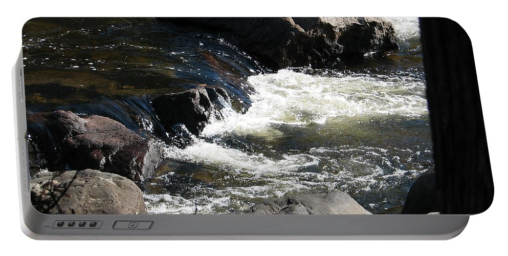 Waterfall Portable Battery Charger featuring the photograph Sunshine On The Fall by Kelly Mezzapelle