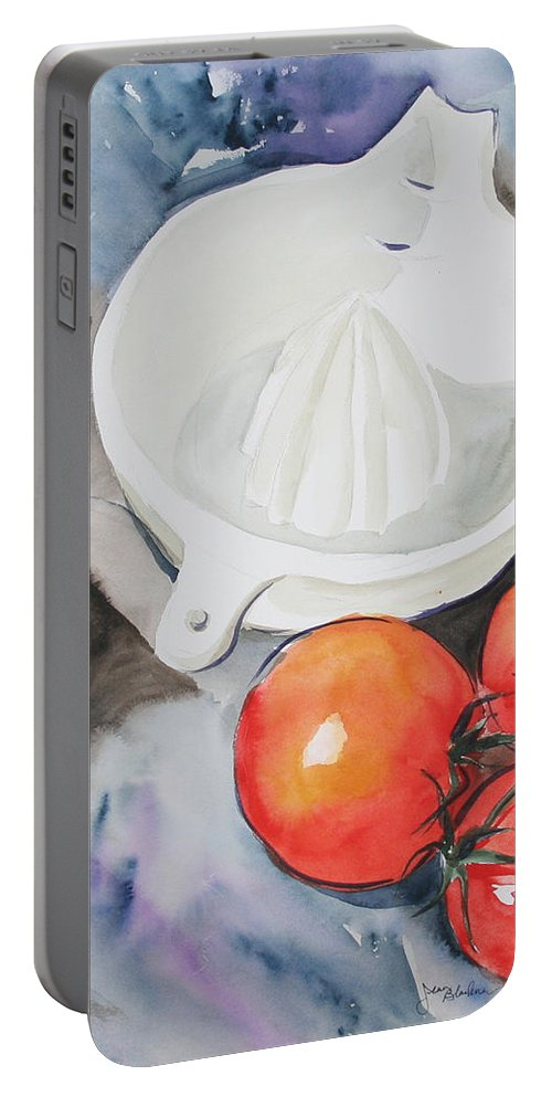 Tomatoes Portable Battery Charger featuring the painting Sunshine On The Vine by Jean Blackmer