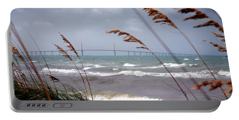 Sunshine Portable Battery Charger featuring the photograph Sunshine Skyway Bridge Viewed From Fort De Soto Park by Mal Bray