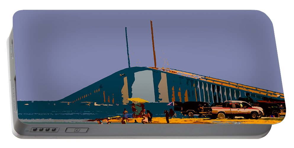 Sunshine Skyway Bridge Portable Battery Charger featuring the photograph Sunshine Skyway by David Lee Thompson