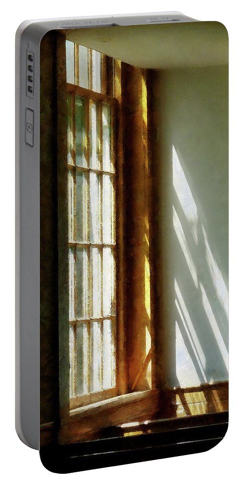 Church Portable Battery Charger featuring the photograph Sunshine Streaming Through Window by Susan Savad