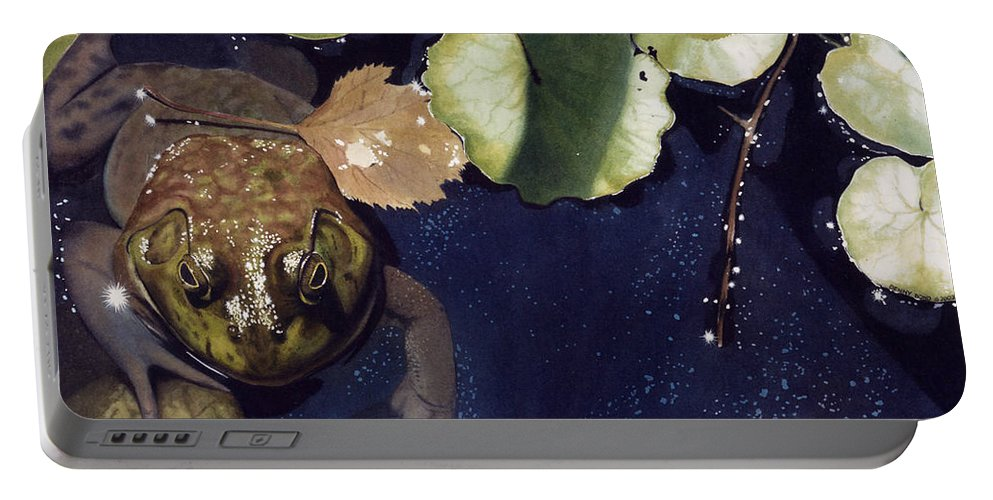 Frog Portable Battery Charger featuring the painting Sunspots by Denny Bond