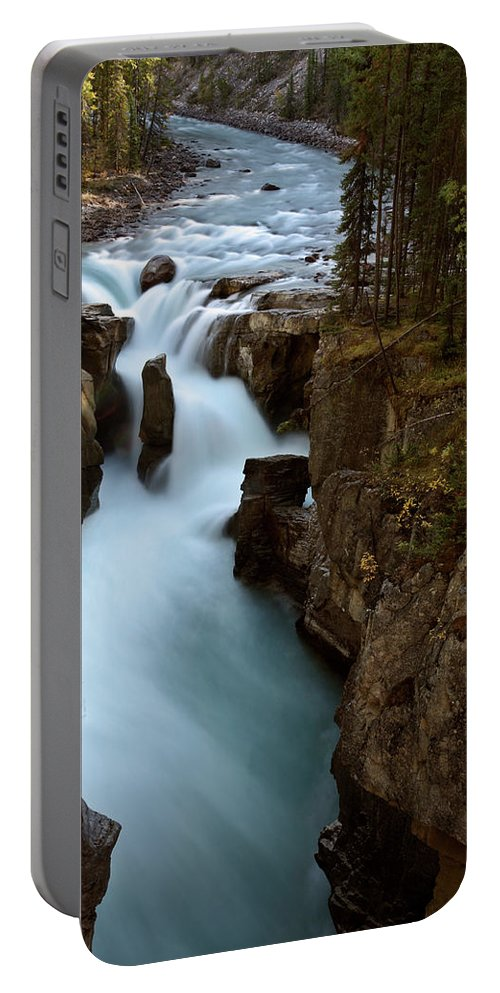 Gorge Portable Battery Charger featuring the digital art Sunwapta Falls In Jasper National Park by Mark Duffy