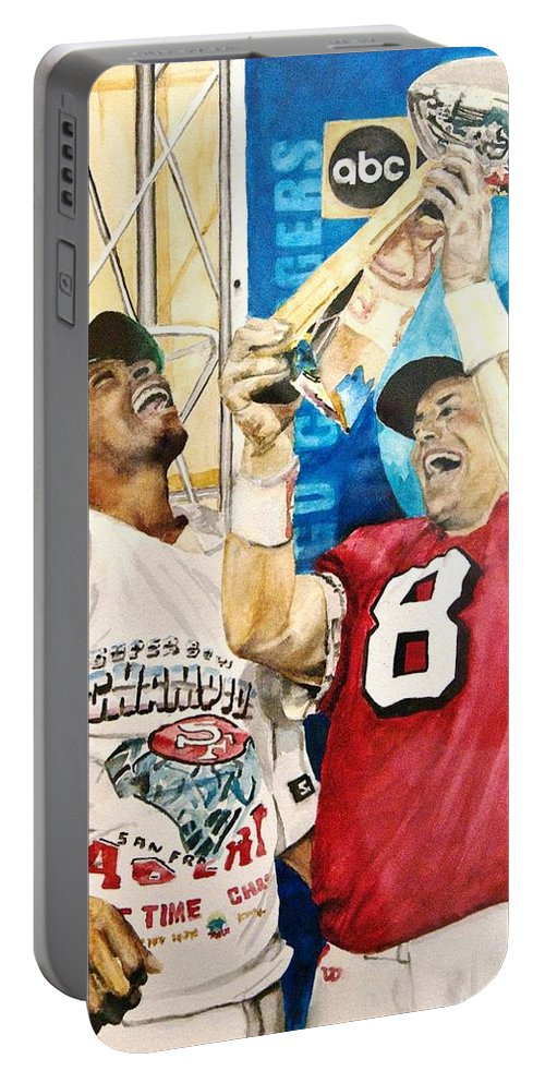 Super Bowl Portable Battery Charger featuring the painting Super Bowl Legends by Lance Gebhardt