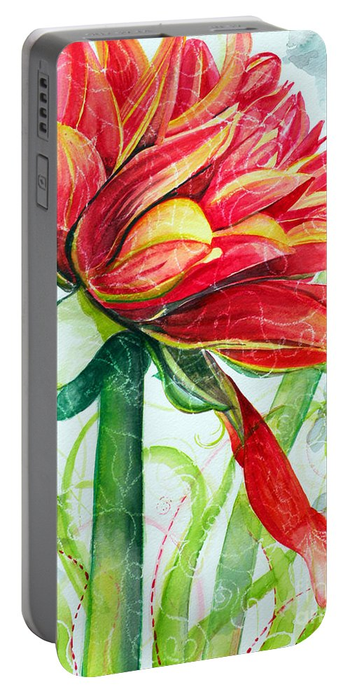 Floral Portable Battery Charger featuring the painting Ruby by Christine Belt