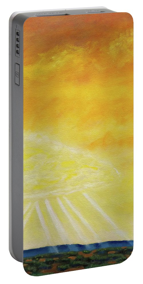 Landscape Portable Battery Charger featuring the painting Super Seven by Brian Commerford