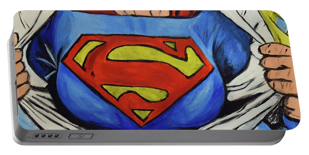 Portable Battery Charger featuring the painting Supergirl by Squid XIII