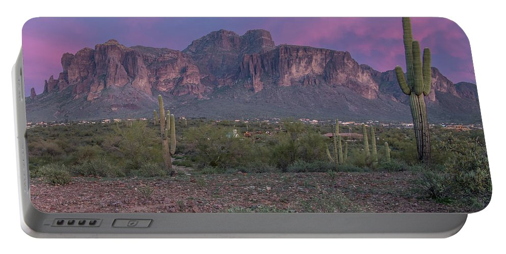 Superstition Mountain Portable Battery Charger featuring the photograph Superstition Sunset by Shelly Priest