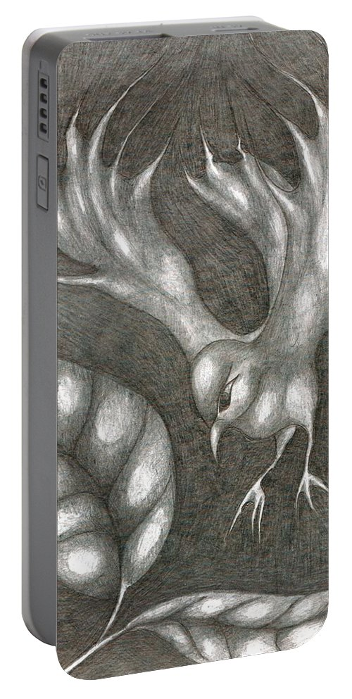 Joy Portable Battery Charger featuring the drawing Supposedly Bird by Wojtek Kowalski