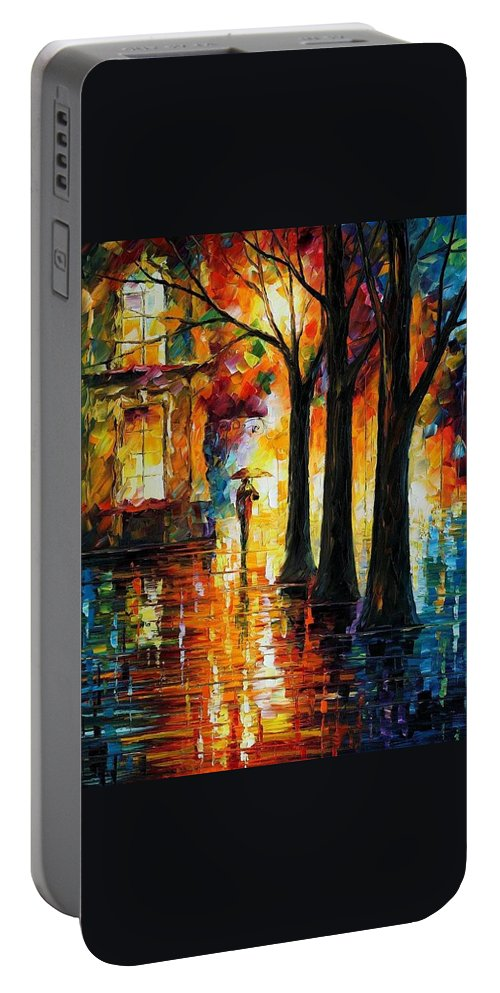 Afremov Portable Battery Charger featuring the painting Suppressed Memories by Leonid Afremov