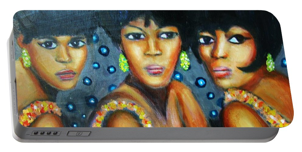 Singers Portable Battery Charger featuring the painting Supremes by Jan Gilmore