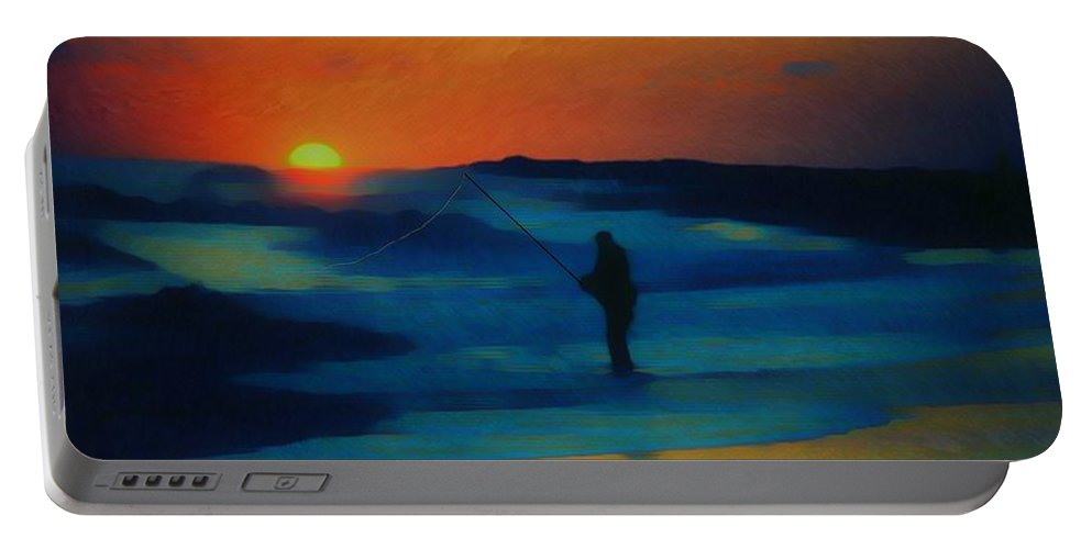 Digital Photograph Portable Battery Charger featuring the photograph Surf Fishing by David Lane