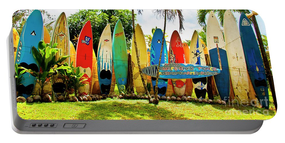 Surfboard Portable Battery Charger featuring the photograph Surfboard Fence II-the Amazing Race by Jim Cazel