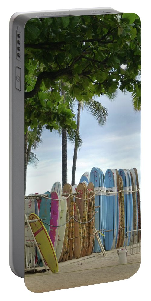 Surfboards Palm Trees Ocean Hawaii Waikiki Beach Water Sea Portable Battery Charger featuring the photograph Surfboards by Florence Ponzo