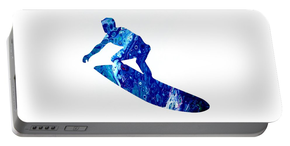 Surfer Painting Portable Battery Charger featuring the painting Surfer by Carol Blackhurst