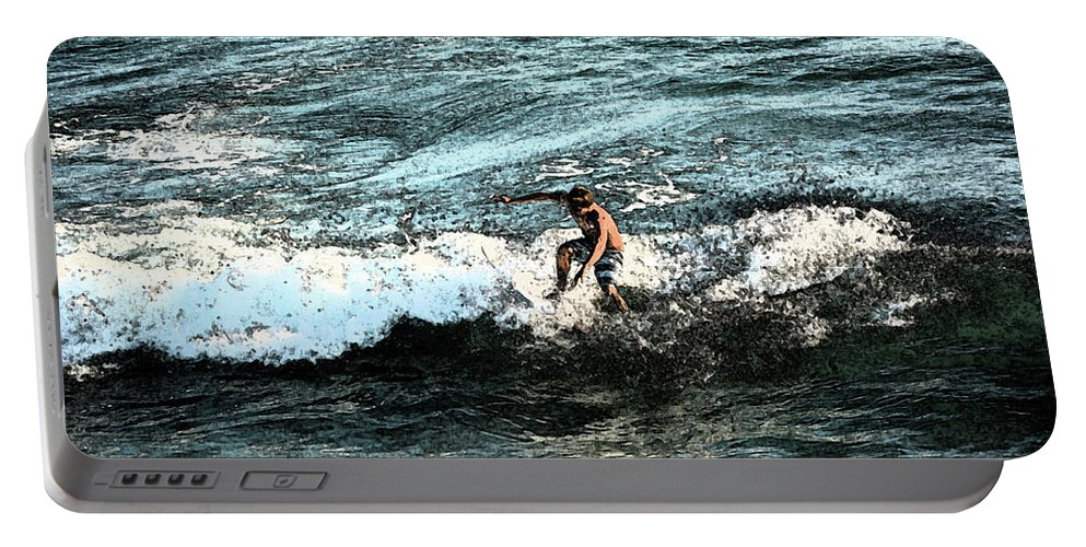 Surfer Portable Battery Charger featuring the photograph Surfer On Wave by Gabe Aguilar