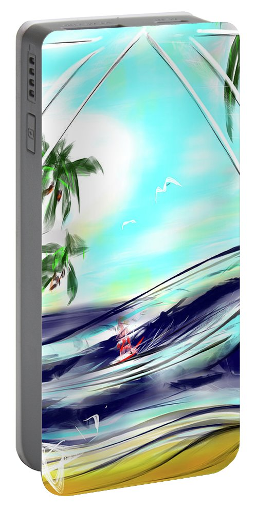 Surf Portable Battery Charger featuring the digital art Surfs Up by AsCuddy