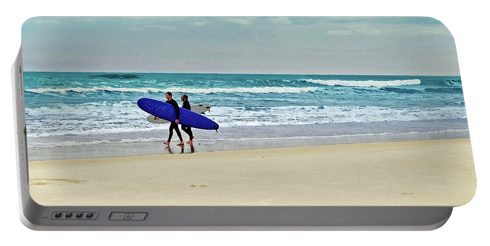 Beach Portable Battery Charger featuring the photograph Surfs Up by Jost Houk