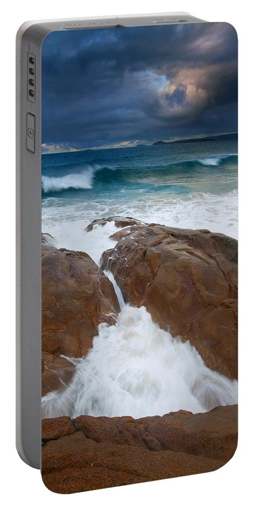 Waves Portable Battery Charger featuring the photograph Surfs Up by Mike Dawson