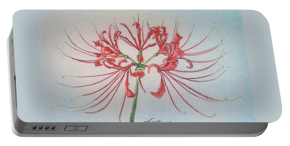 Fuqua - Artwork Portable Battery Charger featuring the drawing Surprise Lily by Beverly Fuqua