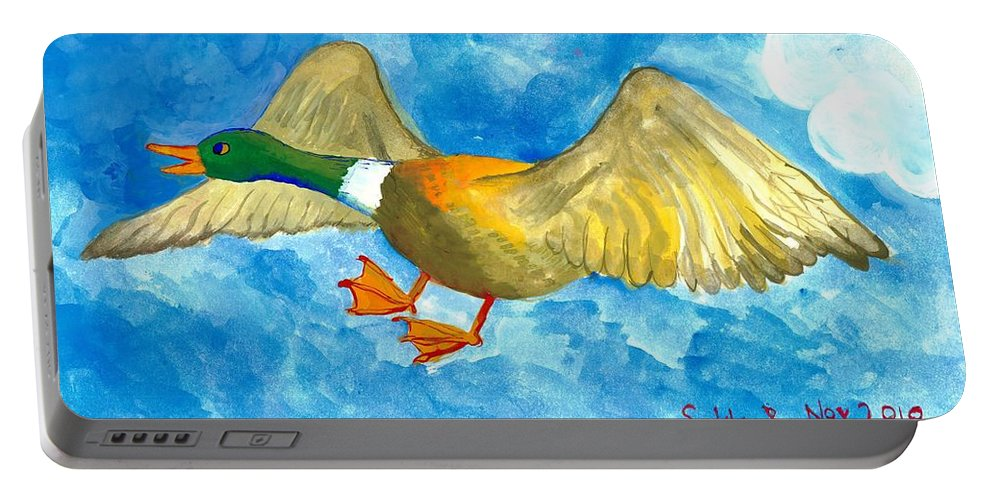 Sue Burgess Portable Battery Charger featuring the painting Surprised Flying Duck Detail Of Duck Meets Fairy Ballet Class by Sushila Burgess