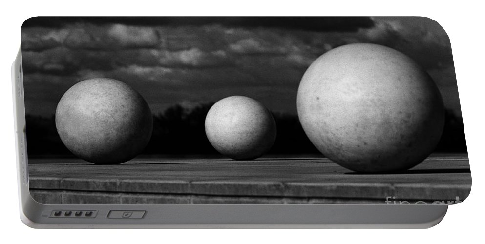 Black And White Portable Battery Charger featuring the photograph Surreal Globes by Peter Piatt