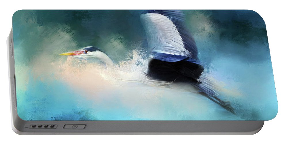 Stork In A Storm Portable Battery Charger featuring the mixed media Surreal Stork In A Storm by Georgiana Romanovna