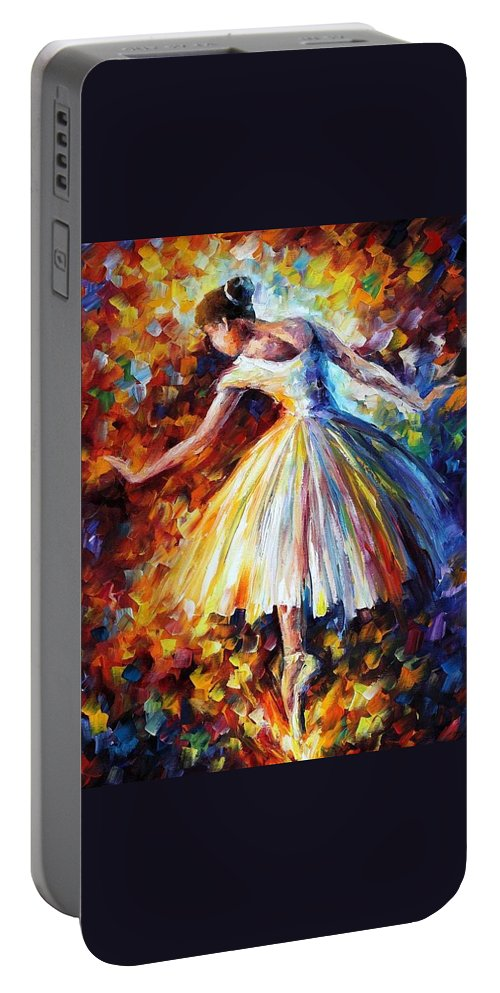Afremov Portable Battery Charger featuring the painting Surrounded By Music by Leonid Afremov