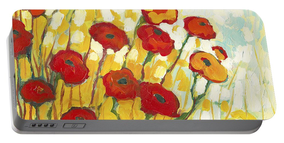 Landscape Portable Battery Charger featuring the painting Surrounded in Gold by Jennifer Lommers