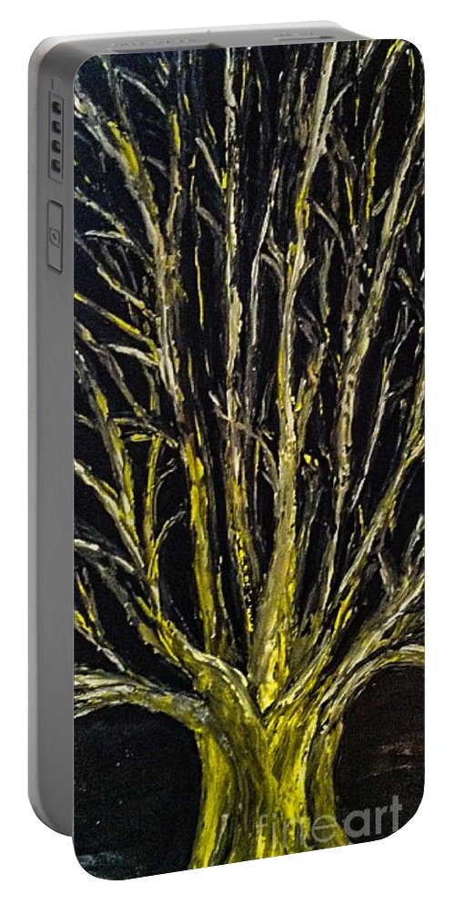 Barren Tree Portable Battery Charger featuring the painting Survivor by Paula Baker