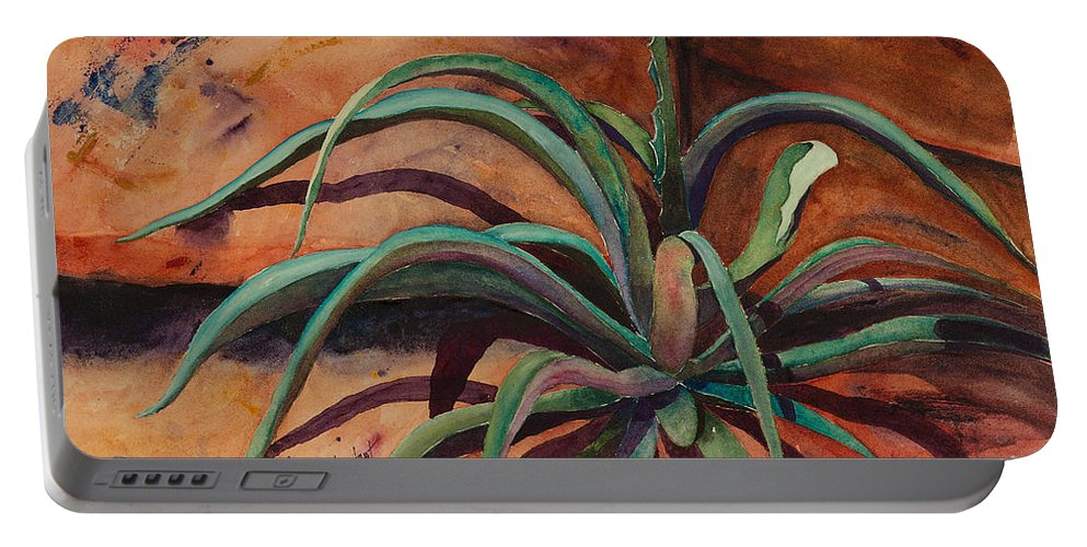 Agave Portable Battery Charger featuring the painting Survivor by Renee Chastant