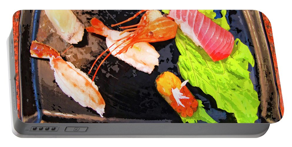 Sushi Plate Portable Battery Charger featuring the mixed media Sushi Plate 2 by Dominic Piperata