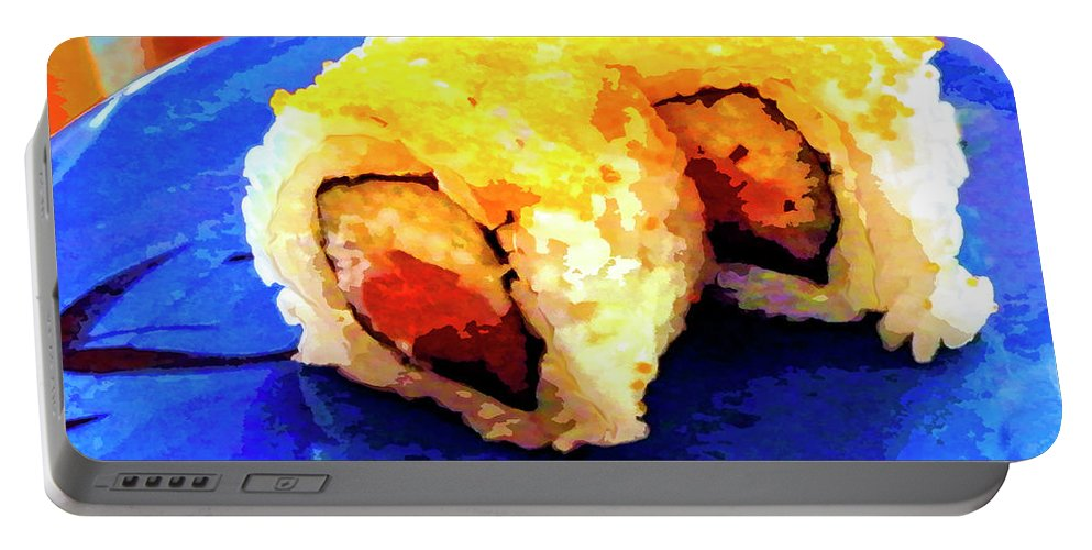 Sushi Plate Portable Battery Charger featuring the mixed media Sushi Plate 3 by Dominic Piperata