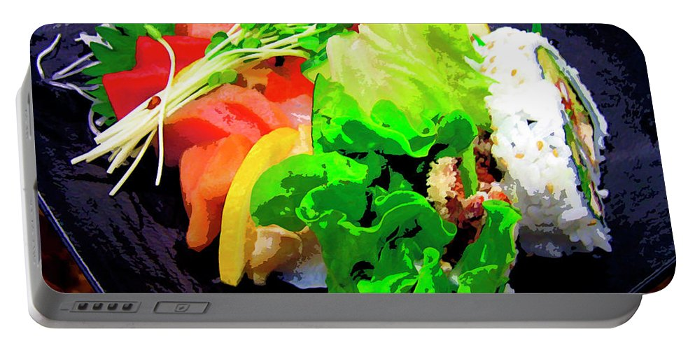 Sushi Plate Portable Battery Charger featuring the mixed media Sushi Plate 5 by Dominic Piperata