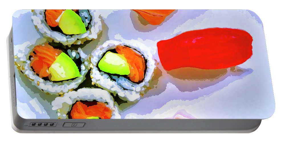 Sushi Plate Portable Battery Charger featuring the mixed media Sushi Plate 6 by Dominic Piperata